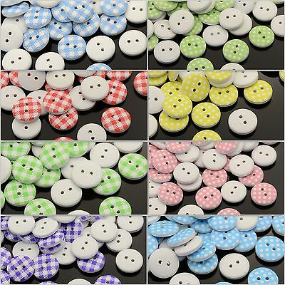 100 Wooden Buttons Check Spot Coloured Choose Style Cute Crafts 13Mm Uk