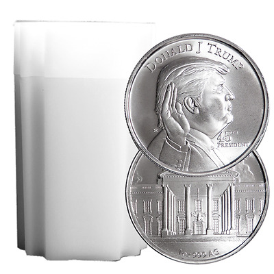 Lot of 20 - 1 Troy oz Donald Trump .999 Fine Silver Round Full Roll