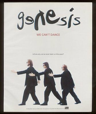 1992 Genesis band photo We Can't Dance song release vintage print ad