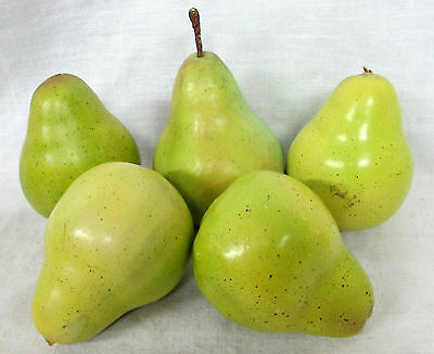 Lot of 5 ARTIFICIAL GREEN PEARS Decorative Fake Faux Fruit Wreath Staging