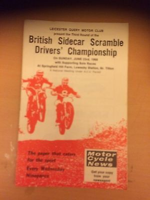Leicester Query Motorcycle Club British Sidecar Scramble Programme With Solos