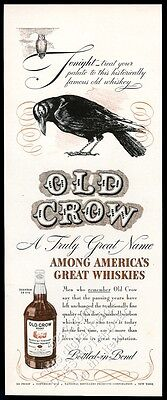 1940 Old Crow Bourbon whiskey black bird art vintage print ad