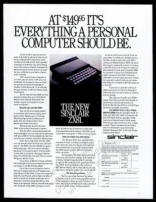 1981 Sinclair ZX81 ZX-81 computer photo vintage print ad