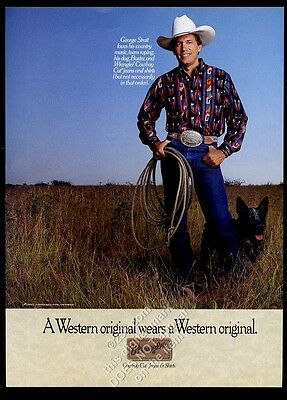 1991 George Strait photo with his dog Wrangler blue jeans vintage print ad