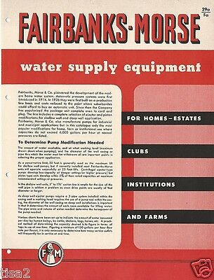 1958 FAIRBANKS MORSE Water Supply Systems Equipment Catalog Known ASBESTOS user