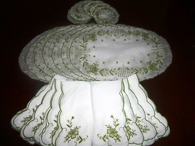 Shabby Vintage Floral Embroidered Cotton Voile Placemats Napkins Drink Coasters