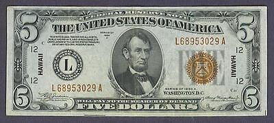 "$5 1934A BEAUTIFUL XF++ ""HAWAII"" San Francisco Federal Reserve Note!"