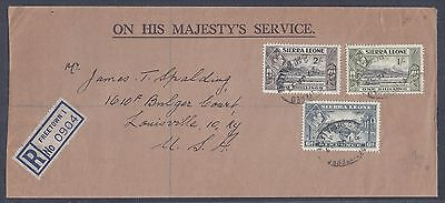 1953 Sierra Leone Registered Cover – Freetown to Kentucky