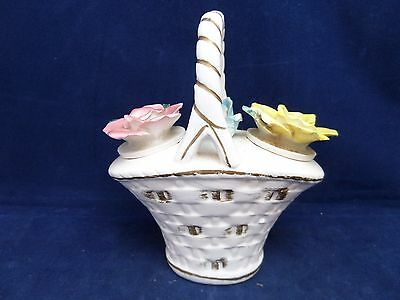 Vintage Commodore Porcelain Flower Salt & Pepper Shakers in A Basket Holder
