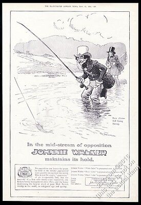 1910 Johnnie Walker Scotch Whisky fly fishing art BIG vintage print ad