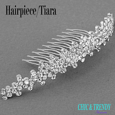 Stunning Clear Crystal Tiara Bridal Wedding Formal Hair Comb Accessories Trendy