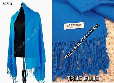 New Classic True Blue Real 100% Pure Pashmina Cashmere Wool Shawl Wrap Scarf