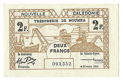 1943 NEW CALEDONIA 2 FRANCS NOTE, THICK NUMERALS, P-56b, ABOUT UNCIRCULATED
