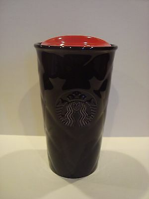 New Starbucks Black Quilted Travel Mug with Red Lid 10 Oz Ceramic Tumbler