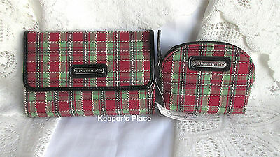 Longaberger HOLIDAY PLAID Trifold Wallet And Small Case Set New With Tags