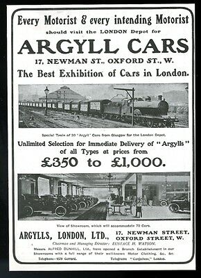 1905 Argyll car London showroom photo vintage print ad