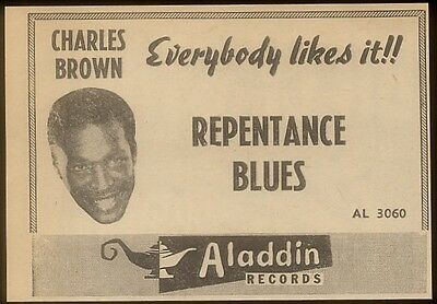 1950 Charles Brown Repentance Blues photo Aladdin Records   trade print ad