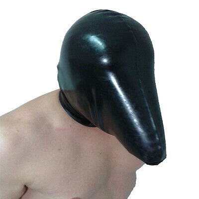 Brand New Black Latex Rubber Gummi Breather Hood Mask HOT (one size)