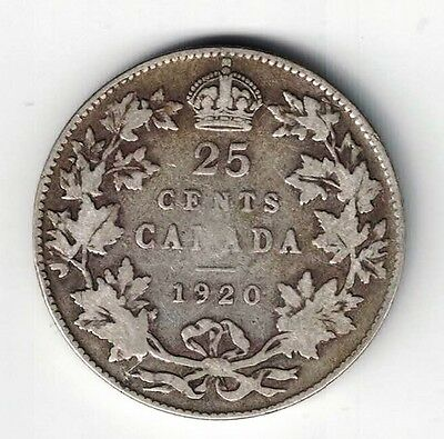 Canada 1920 25 Cents Quarter King George V .800 Silver Coin