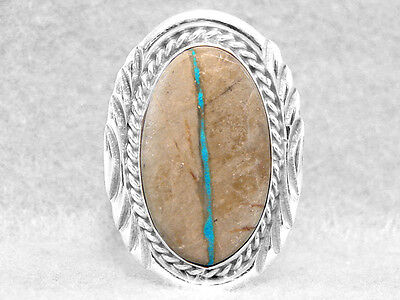 Navajo Ring Size 8 Boulder Turquoise Native American Indian Sterling Silver Z