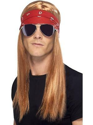 1990s Axl Rose Rock star fancy dress wig glasses and scarf set Guns & roses