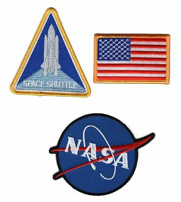 NASA SPACE SHUTTLE EMBROIDERED Set of 3 IRON ON SEW ON PATCH