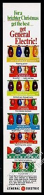 1967 General Electric Christmas Lights 7 light bulb types vintage print ad