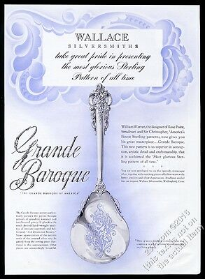1941 Wallace Sterling silver Grand Baroque serving spoon photo vintage print ad