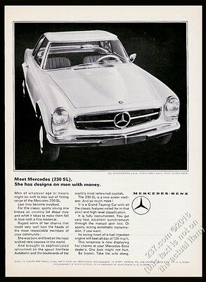 1965 Mercedes Benz 230SL 230 SL car photo She Has Designs on Men With Money ad