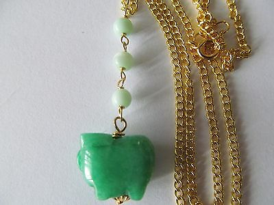 LARGE JADE MOLD CARVED PIG w/THREE JADE BEADS PENDANT GOLD NECKLACE