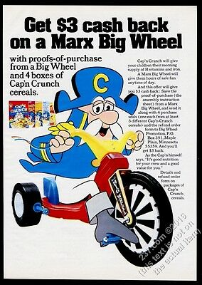 1974 Captain Capn Crunch on Marx Big Wheel vintage print ad