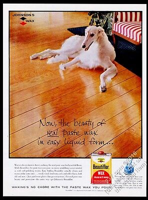 1958 Borzoi Russian Wolfhound photo Johnson Wax Beautiflor vintage print ad