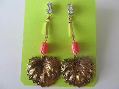 HANDCRAFTED w/GOLD LEAF CHARM & TULIP CORAL BEAD-CRYSTAL PIERCED GOLD EARRINGS