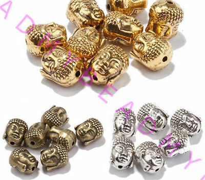 Wholesale 20pcs Tibet Silver Charm Buddha Head Spacer Beads DIY Jewelry Finding
