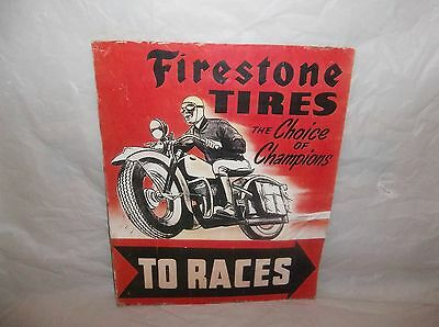 Firestone Motorcycle Tires Racing Sign Motorcycle Original