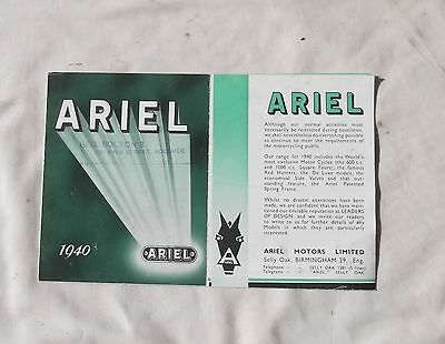 1940 Ariel Motorcycle Sales Brochure Model Red Hunter Square Four