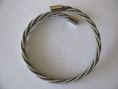 Vintage Silver Plated Wired Designed By-Pass Easy Slip On Bangle Bracelet