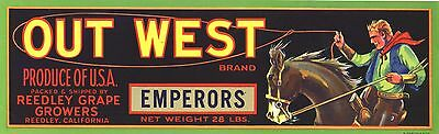 Crate Label Vintage Out West Cowboy Rodeo Rider Horse Original 1950S Western