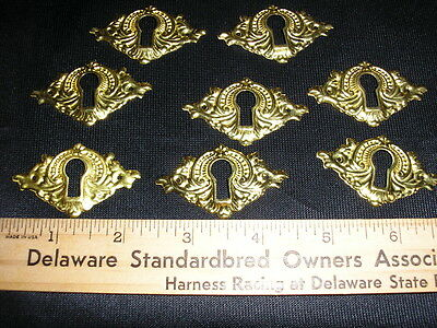 9  Brass Key Hole Escutcheons for Furniture Drawers  Victorian Reproduction NOS