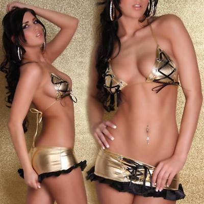 Sexy 2-Tlg Gogo-Set Top + Rock Metallic-Look Gold/schwarz 34/36/38 #gw362