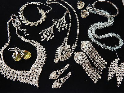 Vintage Glass Rhinestone Necklace Amber Stone Sterling Earrings Ora Jewelry LOT