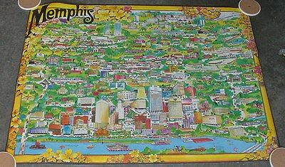 Vintage Memphis Tennessee Advertising  & History Color Poster 1974