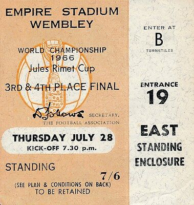 TICKET: WORLD CUP 1966 3rd Place Portugal v Russia USSR