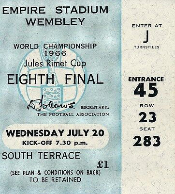 TICKET: WORLD CUP 1966 England v France - 20th July