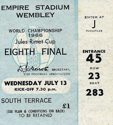 TICKET: WORLD CUP 1966 France v Mexico 13.07 @ Wembley