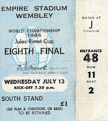 TICKET: WORLD CUP 1966 France v Mexico @ Wembley 13.07 - small repair