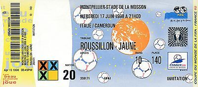 TICKET: WORLD CUP 1998 Italy v Cameroon - UNUSED!