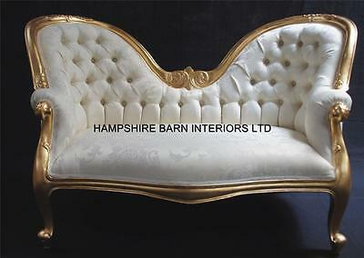 Double ended small chaise sofa ornate french in  Gold Leaf w ivory cream fabric