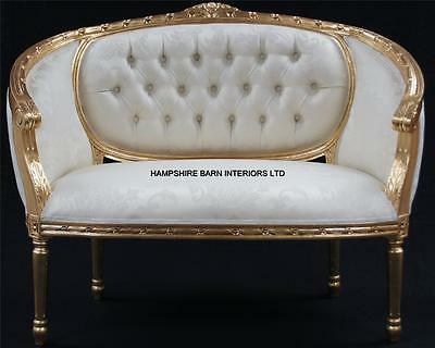 Double Ended  Gold & Ivory  French  Louis Ornate Chaise Longue Sofa Home Salon