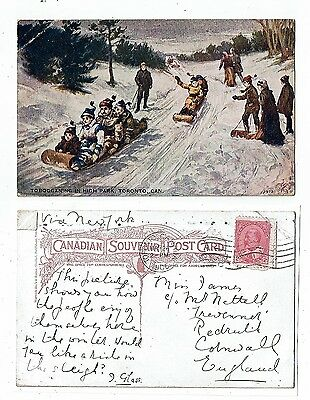 Post Card Tobogganing In High Park, Totonto Canada